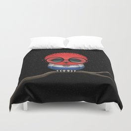 Baby Owl with Glasses and Paraguay Flag Duvet Cover