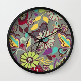 Large Bright Blooms Wall Clock