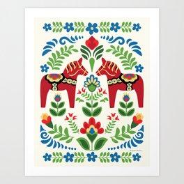 Swedish Dala Horses Red Art Print