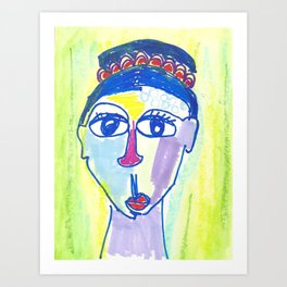 Crazy Face Blue Hair Art Print