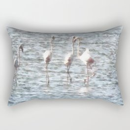 A Flamboyant Pat Of Flamingos Rectangular Pillow