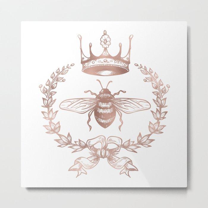 Queen Bee in Rose Gold Pink Metal Print