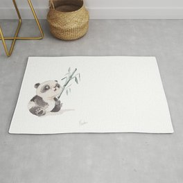 watercolor panda and hi bamboo Rug