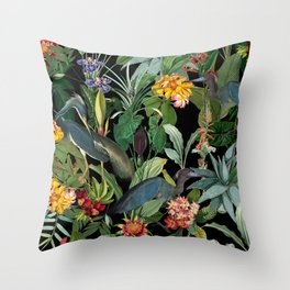 Vintage & Shabby Chic - Midnight Tropical Garden Blue Heron Throw Pillow