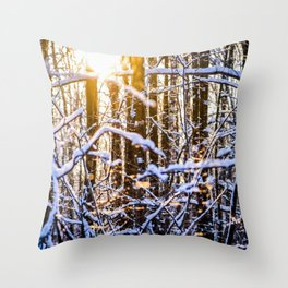 Sunset In The Winter Forest Throw Pillow