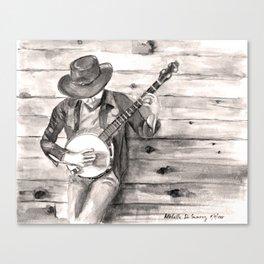 Banjo Player in Sepia Canvas Print