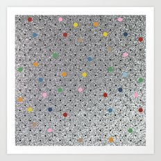 Pin Points Polka Dots Shiny Art Print