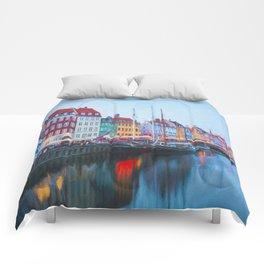 The Quay at Nyhavn, Copenhagen, Denmark Comforters