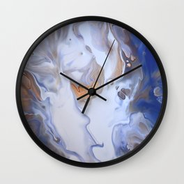 Blue Cloudy Fluid Abstract Art Wall Clock
