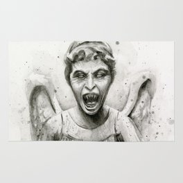 Weeping Angel Watercolor Doctor Who Art Rug