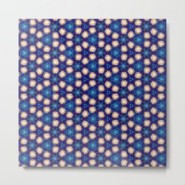 Gorgeous Blue and Gold Beaded Geometric Pattern Metal Print