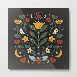 Folk Floral | Fall Colors Metal Print