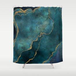 Golden Gemstone Glamour Mineral Shower Curtain