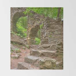 Forest Castle Ruins Throw Blanket