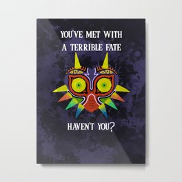Majora's Mask Splatter (Quote) Metal Print