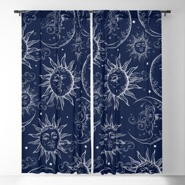 Blue Magic Celestial Sun Moon Stars Blackout Curtain