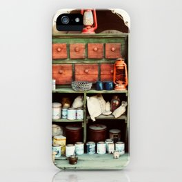 Dry goods at the end of a pioneer wagon iPhone Case