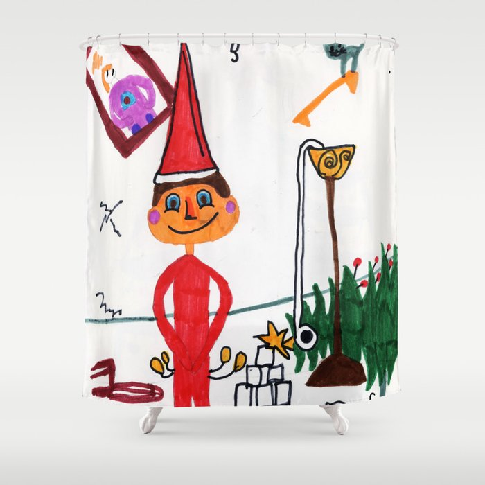 Naughty Elf Shower Curtain By Samanson