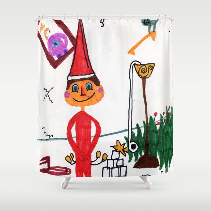 Naughty Elf Shower Curtain By Samanson