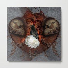 Wonderful crow with skulls Metal Print