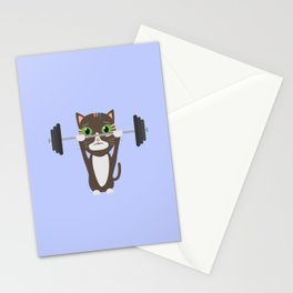 Fitness cat weight lifting   Stationery Cards