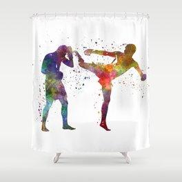 Two men exercising thai boxing silhouette 01 Shower Curtain