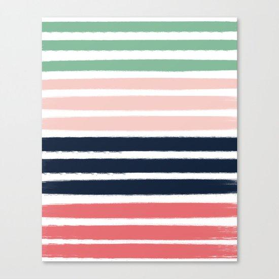 Brooklin - abstract minimal pink coral navy painting home decor abstract charlotte winter art Canvas Print