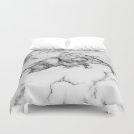 Classic White Marble With Black Vein Pattern Duvet Cover