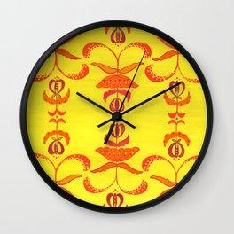 Hot Pink and Orange Lotus on Yellow Wall Clock