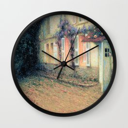 Henri Le Sidaner - Roses and Wisterias on the House (new color editing) Wall Clock