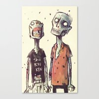 zombies Canvas Prints featuring Zombies! by Peerro