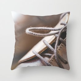 Brown Leather Shoes Shoelaces Close Up Throw Pillow