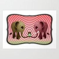 Owlephants Art Print