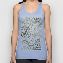 Gold Leaves on White Unisex Tank Top