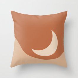 Moonrise Minimalism - Orange Throw Pillow