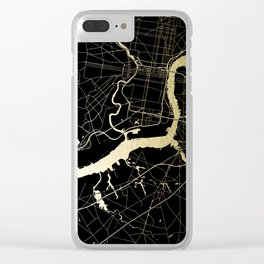 Philadelphia - Black and Gold Clear iPhone Case