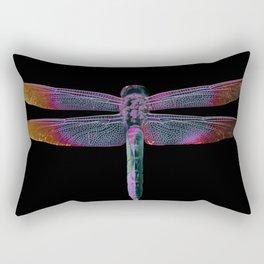 Day Glow Dragonfly on Black Rectangular Pillow