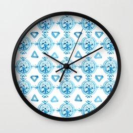 Shibori Classic Blue Tiki III Wall Clock