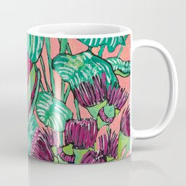 Cluster of Houseplants and Proteas on Pink Still Life Painting Coffee Mug