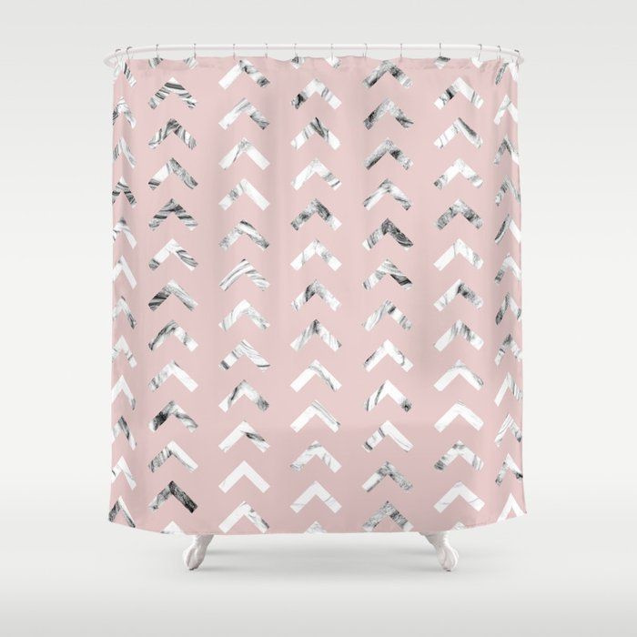Black White Marble Arrowheads Blush Pink Shower Curtain