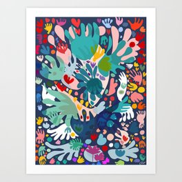 Flowers of Love Joyful Abstract Decorative Pattern Colorful  Art Print