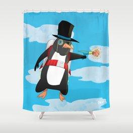 Professor Jetpack Penguin. Esquire.  Shower Curtain