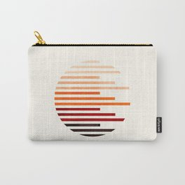 Mid Century Modern Minimalist Circle Round Photo Burnt Sienna Staggered Stripe Pattern Carry-All Pouch