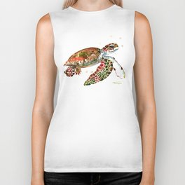 Sea Turtle, Brown, Olive green Pink Shades Biker Tank