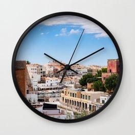 Aerial view of Ciutadella port and city - Menorca, Balearic islands, Spain Wall Clock