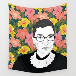 Ruth Bader Ginsburg Floral Wall Tapestry