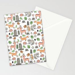 Woodland foxes rabbits deer owls forest animals cute pattern by andrea lauren Stationery Cards