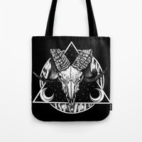 goat Tote Bags featuring Goat by alesaenzart