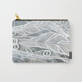 Muted Grey Feathers Carry-All Pouch