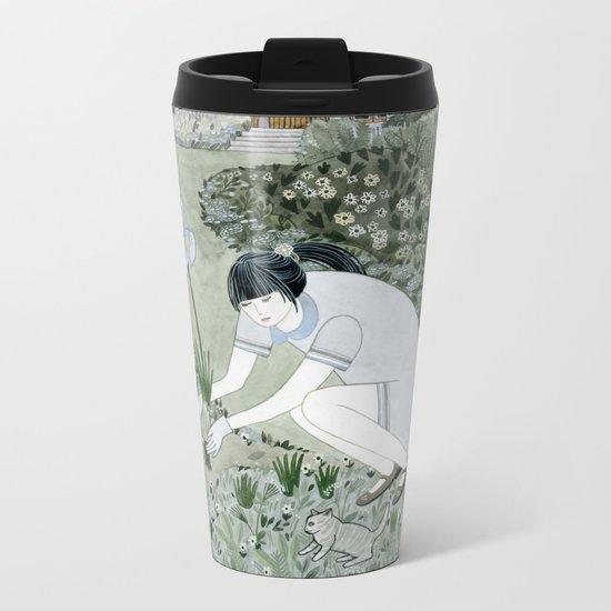 Planting Irises Metal Travel Mug
